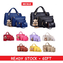 READY STOCK🎁 MSBAG 5 IN 1 Luxury Handbag + Sling + Purse PU + CUTE BEAR