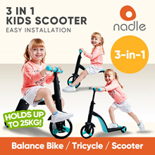 [JC1804] NADLE 3 in 1 Kids Scooter • Baby Balance Bike Tricycle ★ 3 Colors • Fully Adjustable