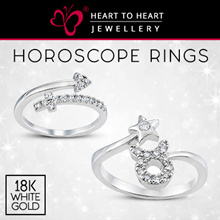 ❤18K White Gold Plated Horoscope Zodiac Ring ❤ with Fine Cut Simulated Diamonds❤