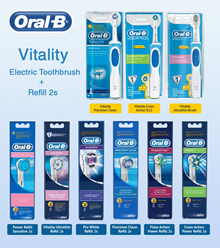 Oral B Vitality/ Cross Action Elec Toothbrush+1 Refill 2s! Precision Clean/Cross Action/Ultrathin