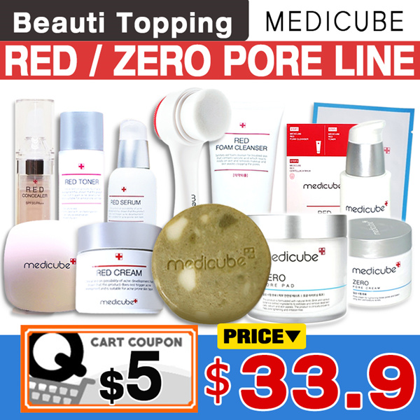 ONLY 1-DAY SUPER DEAL DOUBLE SAVINGS!?MEDICUBE?Red/Zero Line(Red Body Bar/Zero Pore Pad/Serum/Cream) Deals for only S$46.8 instead of S$0