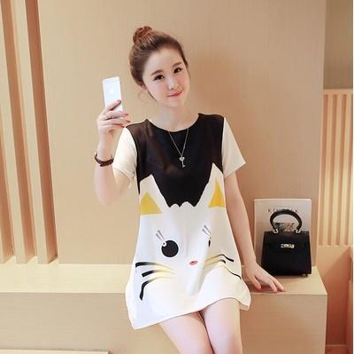 d3af1ddac63c9 2018 new summer fashion models Korean version of the loose casual skirt tide  mother printing cat