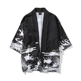 Japanese retro dark float painted where kimono cardigan men and women China Wind loose seven-cent sl