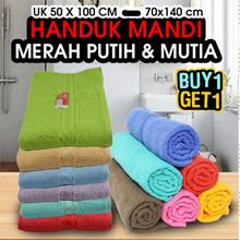 [Buy 1 + 1 Free] HANDUK MANDI MERAH PUTIH   HANDUK MUTIA  UK 50 X 100 CM -  70x140 CM