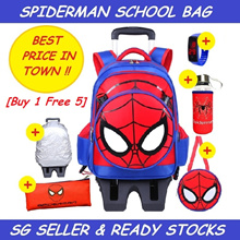 Kids Trolley School Bag Cartoon Disney Princess Marvel Spiderman Captain America StairClimbing Wheel