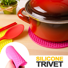 ★Multipurpose Round Silicone Trivet★The bright color and attractive honeycomb design add cheer and style to your kitchen