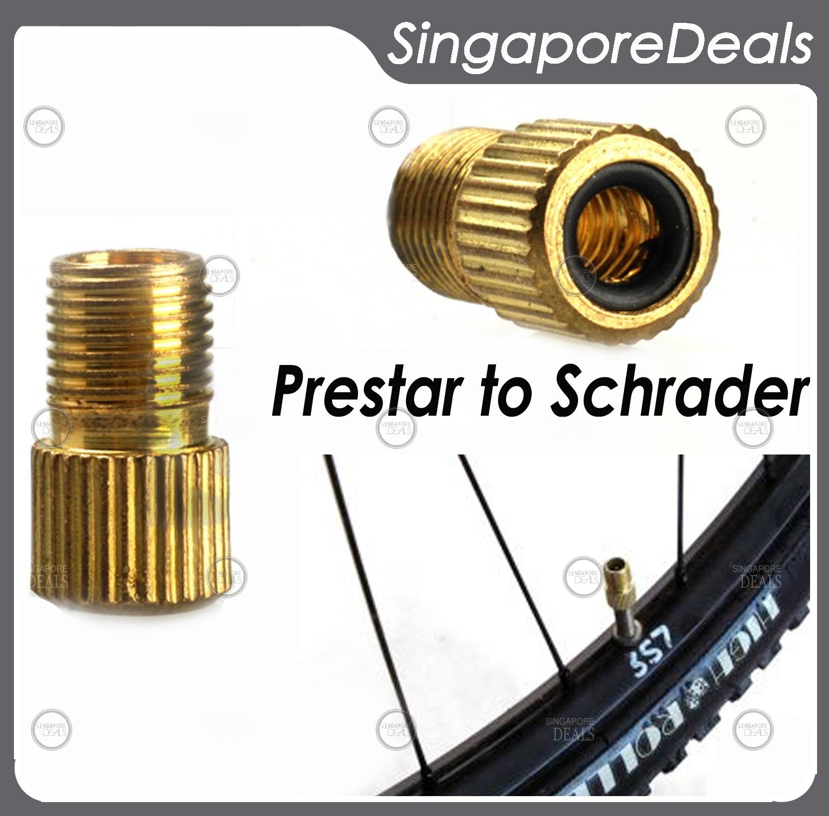 Presta Valve to Schrader Valve to Presta Valve Converter Bicycle Tube Pump Air C