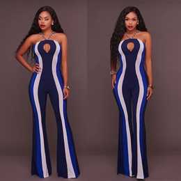 Women s Fashion Emmalie Navy Stripes Halter Neck Jumpsuit