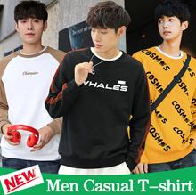 2018 Korean Casual t-shirt / Long sleeve t-shirt / Men Hoodie Jumper / Printed Cotton t-shirt