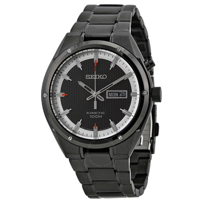 Seikoseiko Kinetic Black And White Dial Black Ion Plated Mens Watch Smy153