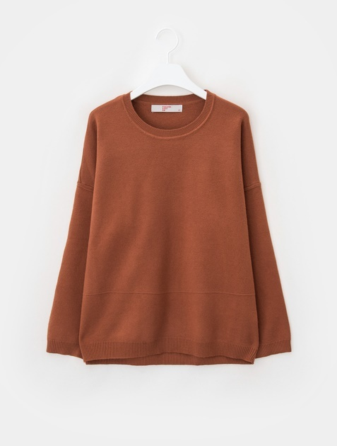 8SECONDS Solid Drop Shoulder Loose Fit Knit - Yellowish Brown