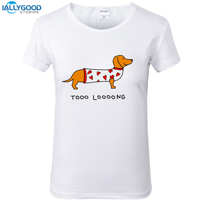 8016558ad factory Summer Funny Dachshund T-Shirt Women Too Long Wiener Dog Printed  O-neck