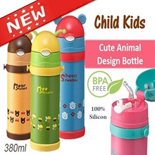 ♥New Arrival♥ Children Kids Cute Animal Vacuum Flask with Drinking Straw/Thermos/Water Sling Bottle