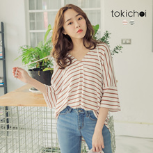 TOKICHOI - Horizontal Striped Hooded Cotton Top-190179
