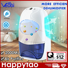 VEDAI Dehumidifier+Air Purifier Portable 2L Tank 2.5M SG PLUG Fully Automatic Electronic Mildew Kill