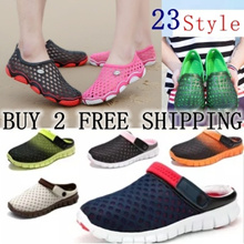 Fashion Men Sandals Flat Breathable Hole Shoes Male Flats Beach Slippers women Swimming Shoes Water