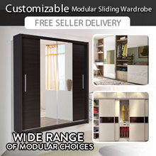 Customizable Modular Sliding Wardrobe | 5 - 7ft length | 5 Internal Configuration | 2 Exterior Color