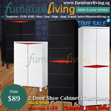 Furniture Living SG - New 2 Door Tall Shoe Cabinet / Storage Rack in Black/White colour for only $89