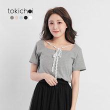 TOKICHOI - Square Neck Blouse with Lace Tie-171840