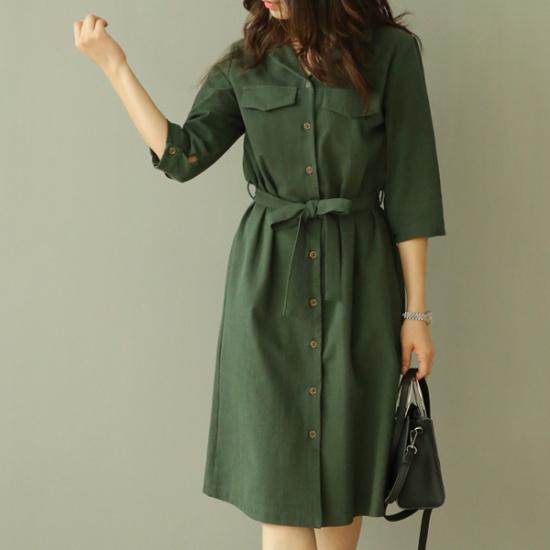 ビナインルベルポケットワンピース 綿ワンピース/ 韓国ファッション