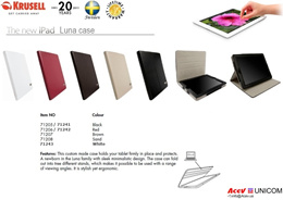 Krusell iPad4/3/2 cases * Cover Lock (Sleep Mode) * viewing angles * Sweden premium quality * Life-T
