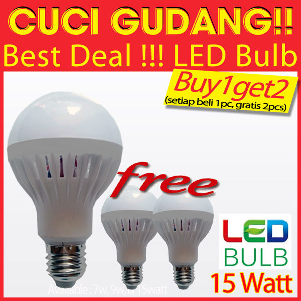 CUCI GUDANG!!! [Buy1get2FREE] LED BULB 15Watt | Packing Bubble warp Deals for only Rp90.000 instead of Rp90.000