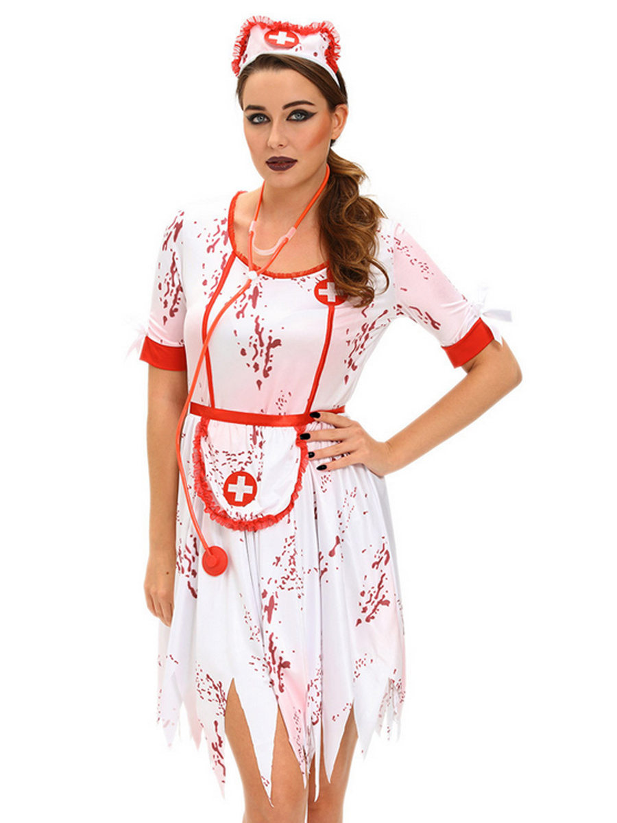 ba34e0e63324c Qoo10 - Women s Halloween Sexy Scary Vampire Nurse Cosplay Costume ...