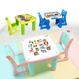 IFam Kids Table Stool Set/Pororo Table/Study Table/Drawing Table/Chil table/MealtimeStool Chair/Picnic table/Kids Furniture/Kids Room Decorating/My Baby first desk