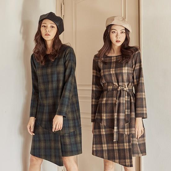 メグジェイMAGJAYオンバルメディアチェックワンピースJ92OOP047 面ワンピース/ 韓国ファッション