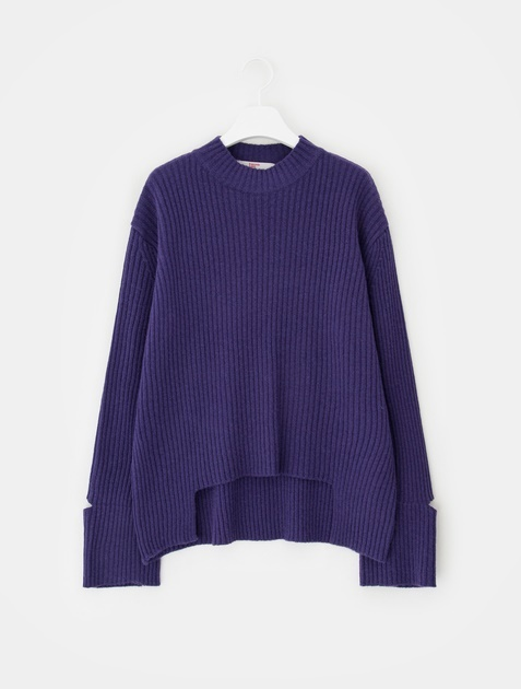 8SECONDS Wool Blend Ribbed Wide Sleeve Cutting Knit - Purple