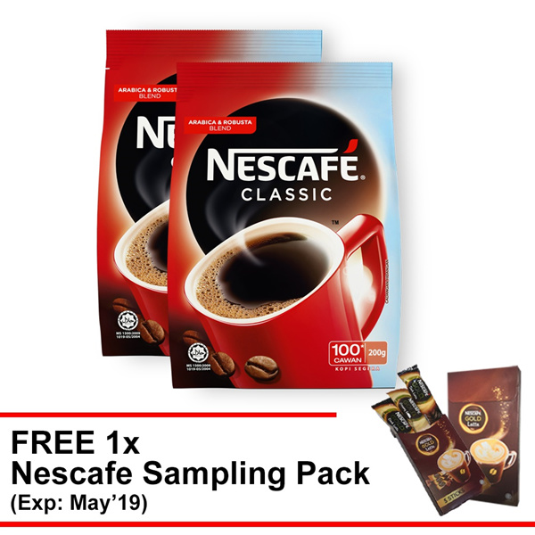 NESCAFE CLASSIC Refill 200g Buy 2 Free 1 Free sampling pack Deals for only RM28.9 instead of RM38
