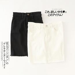 KK19 Denim skirt Summer 2018 Simple Pure color short skirt tassel half bag hip skirt high waist show