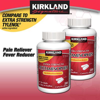 Kirkland Acetaminophen Tylenol Kirkland Signature Extra Strength  Acetaminophen 500 mg 1000 Caplets