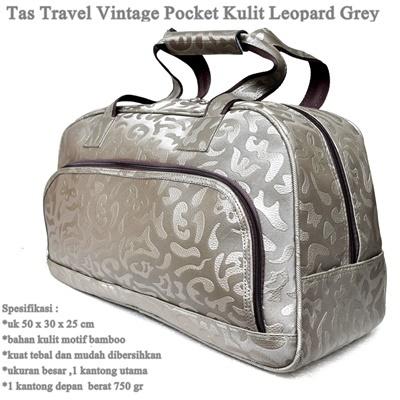 Tas Travel Vintage Pocket Kulit LEOPARD