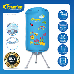 PowerPac 2in1 Portable UV Electric Clothes Dryer Baby Clothes Dryer 900Watts (PPV636)