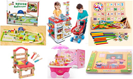 Rail Overpass Wooden Toy Set/Ice-Cream set/Wooden Chair set/Silky Crayon/Super Painter
