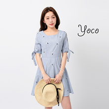 YOCO - Striped Skater Dress with Ribbon Detailed Sleeves-170580