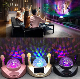 SD308 Flash LED Dual Wireless Microphones System Outdoor Karaoke Microphone KTV Subwoofer Bluetooth