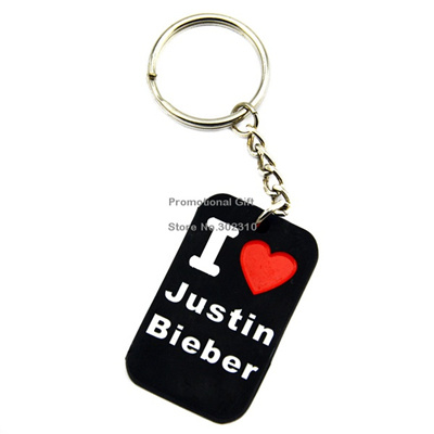 Qoo10 1pc I Love Justin Bieber Silicon Dog Tag Keychain Promotion