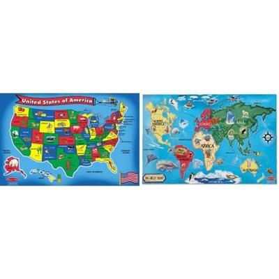 Melissa Doug Usa And World Map Floor Puzzle Bundle
