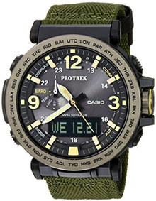 Casio Men s  PRO TREK  Quartz Resin and Cloth Casual Watch, Color:Green (Model: PRG-600YB-3CR)