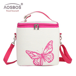 a233d58a01ea Portable Lunch Bags Cotton Linen Lunch Tote Butterfly Printing Food Picnic Bag  Women Kids Men