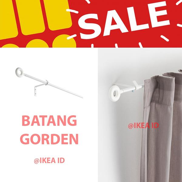 IKEA IRJA Set batang gorden lengkap 140 cm putih Deals for only Rp50.000 instead of Rp50.000