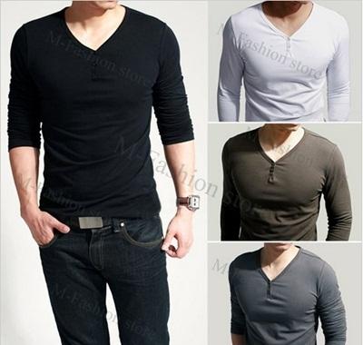 30e8856fe16 Qoo10 - Mens/Guy/Male Fashion V-neck Lycra Plain Long Sleeve Comfort ...