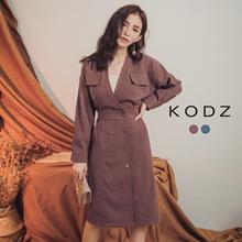 KODZ - V-neck Buckle Long Seleeve Dress-182554-Winter