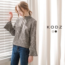 KODZ - Flare Sleeve High Neck Top-6031433-Winter