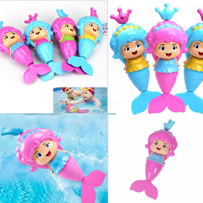 Classic Swimming Wound Up Toy Cute Cartoon Baby Mermaid Clockwork Dabbling  Bath Toy Water Wind Up Ed