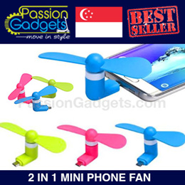 ★NEWEST!★ ★Mini Mobile Phone Fan Portable 2-in-1 Micro USB + iPhone ★ Power Bank ★