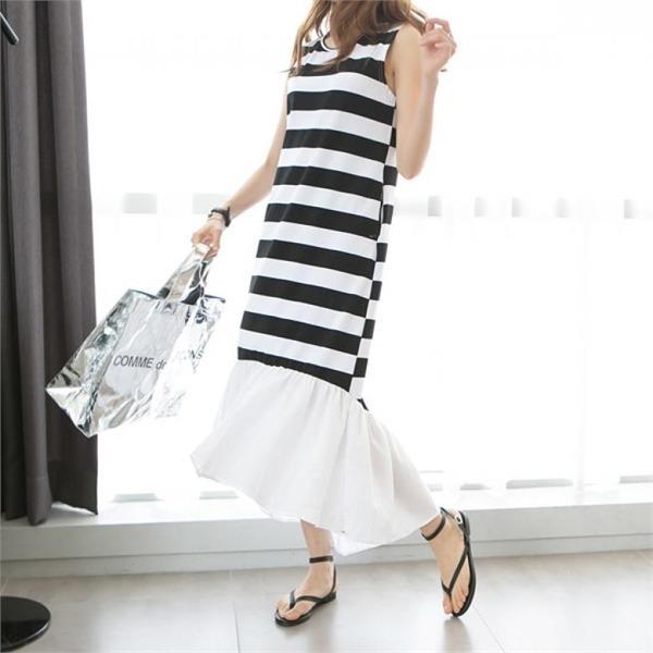 ピピンロイシャ・ストライプフリルのワンピース34692 new プリントワンピース/ワンピース/韓国ファッション
