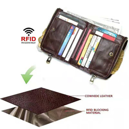 Anti RFID Genuine Cowhide Leather Wallet - Protect your Credit Cards from RFID Thefts